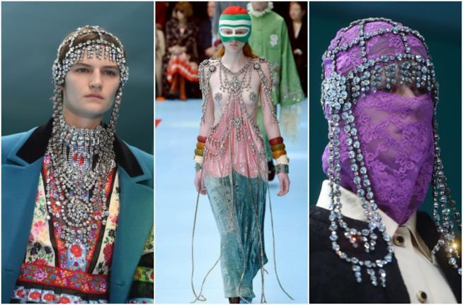 Collage di cristalli nella sfilata Gucci