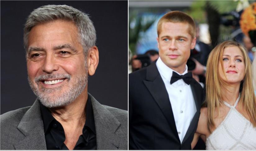 Collage tra George Clooney e Brad Pitt e Jennifer Aniston