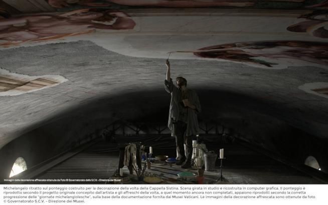 Enrico Lo Verso dipinge la cappella sistina nei panni di Michelangelo Buonarroti
