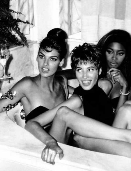 Naomi Campbell con Linda Evangelista e Christy Turlington