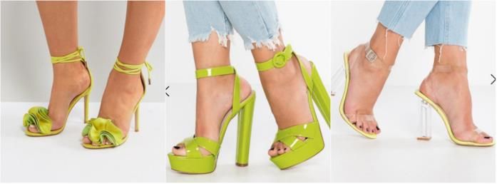 Collage di sandali color lime
