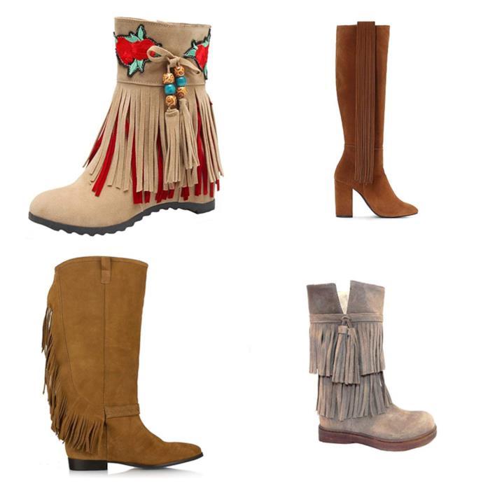 Stivali con le frange in stile folk