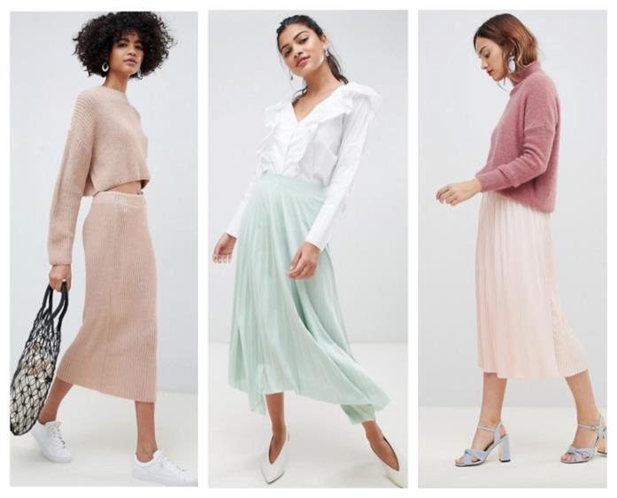Gonne nei colori pastello di moda per l'autunno inverno 2018-19