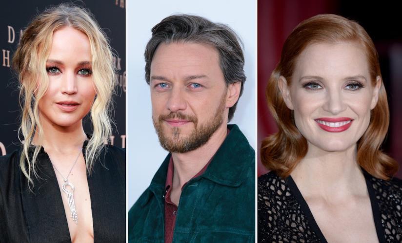 gli attori Jennifer Lawrence, James MCAvoy e Jessica Chastain
