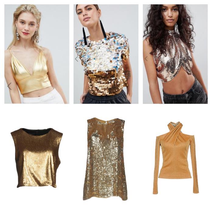 T-shirt e bluse oro di moda per l'estate 2018
