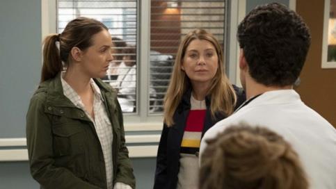 Jo, Meredith e DeLuca nell'episodio 24 di Grey's Anatomy 15
