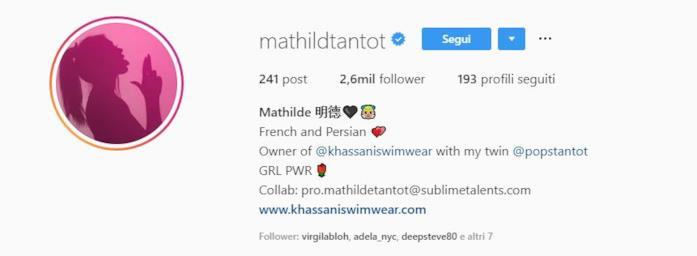 Profilo instagram Mathilde Tantot