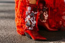Streetstyle di Parigi stivali rossi