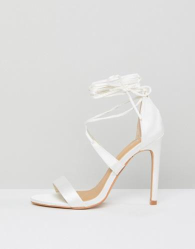 Sandali in raso effetto nudo con cinturino alla caviglia e tacco