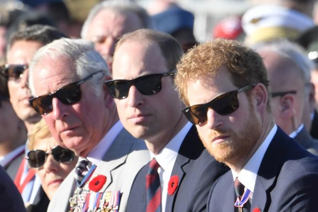Carlo con i figli William e Harry