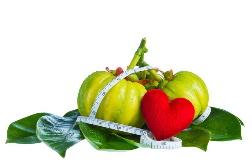 Vari frutti di garcinia cambogia con un centimetro