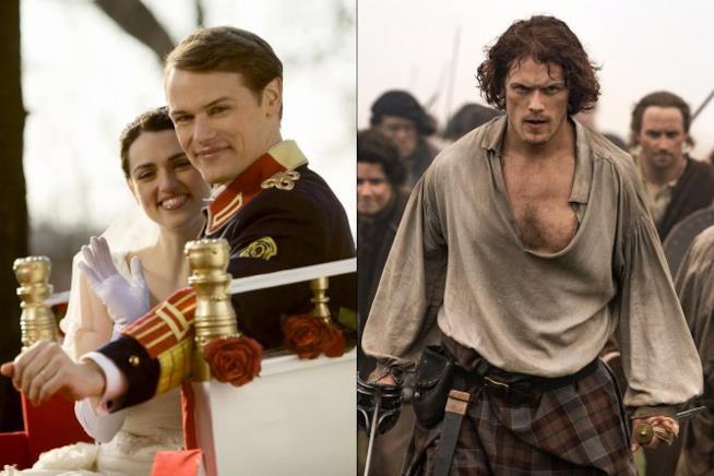 Sam Heughan vestito da principe e vestito da scozzese