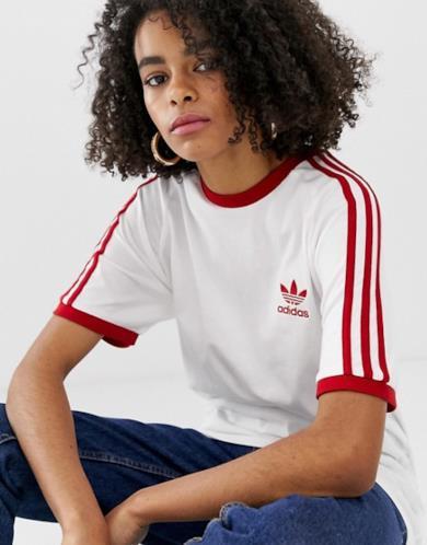 T-shirt bianca e rossa con tre righe