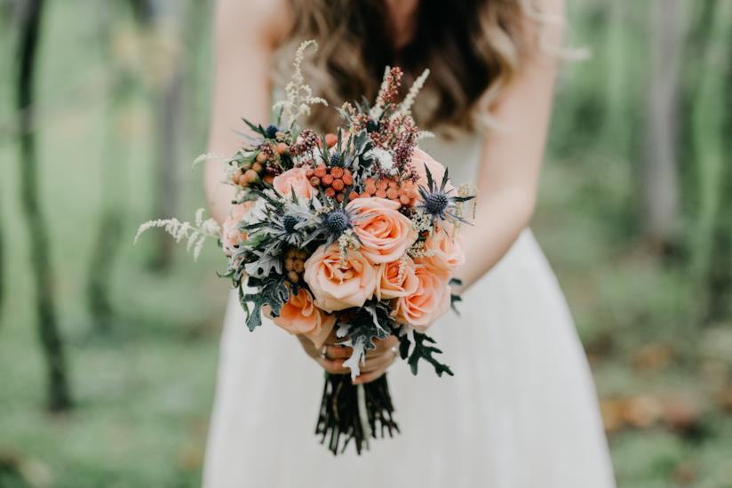 Bouquet sposa in colori rosa verde e blu
