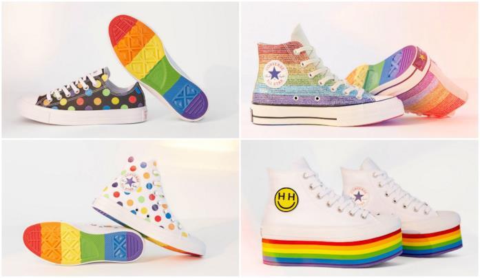 converse scarpe arcobaleno
