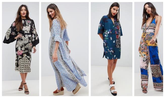 Abiti con la stampa patchwork di moda per l'estate e l'autunno 2018