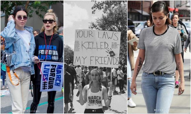 Kendall Jenner, Hailey Baldwin, Selena Gomez e una ragazza a #MarchForOurLives