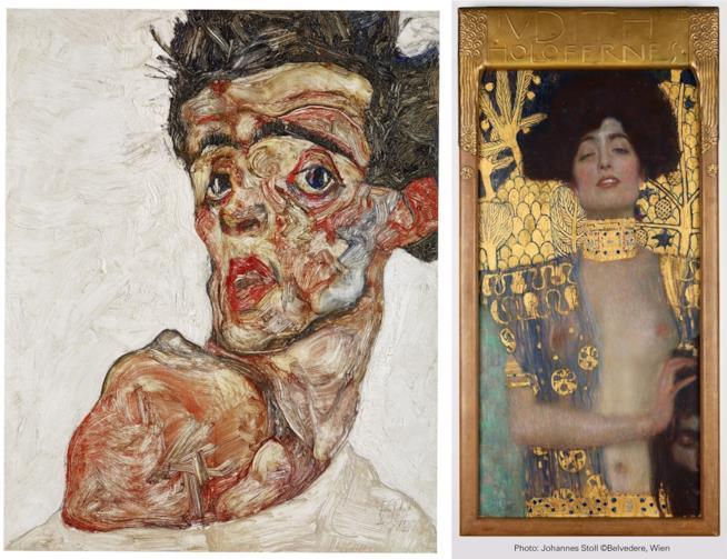 Autoritratto di Egon Schiele e Giuditta di Gustav Klimt opere descritte nel film di Michele Mally