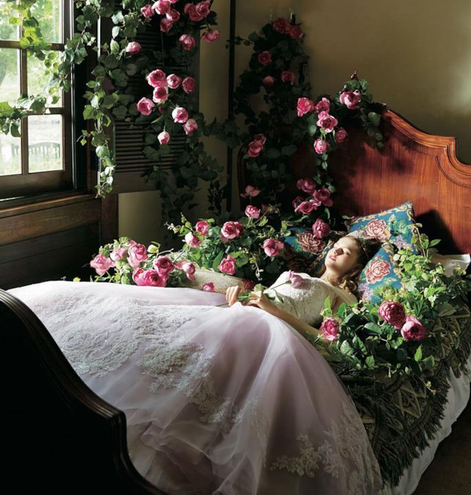 Con l'abito di Aurora, la modella giace su un letto circondata da rose