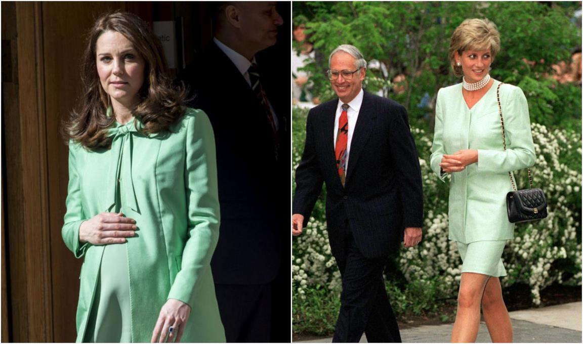 Collage tra Kate Middleton e Diana in verde