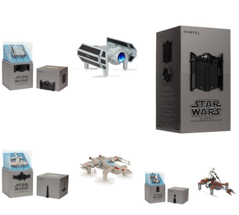 quattro droni a forma di veicoli di Star Wars