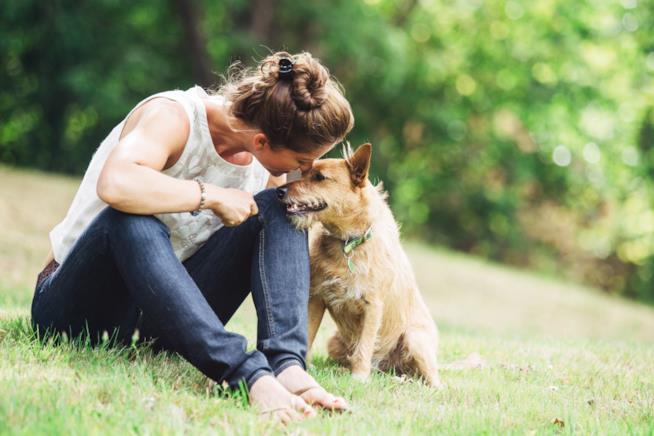 Una donna bacia il proprio cane sul musetto