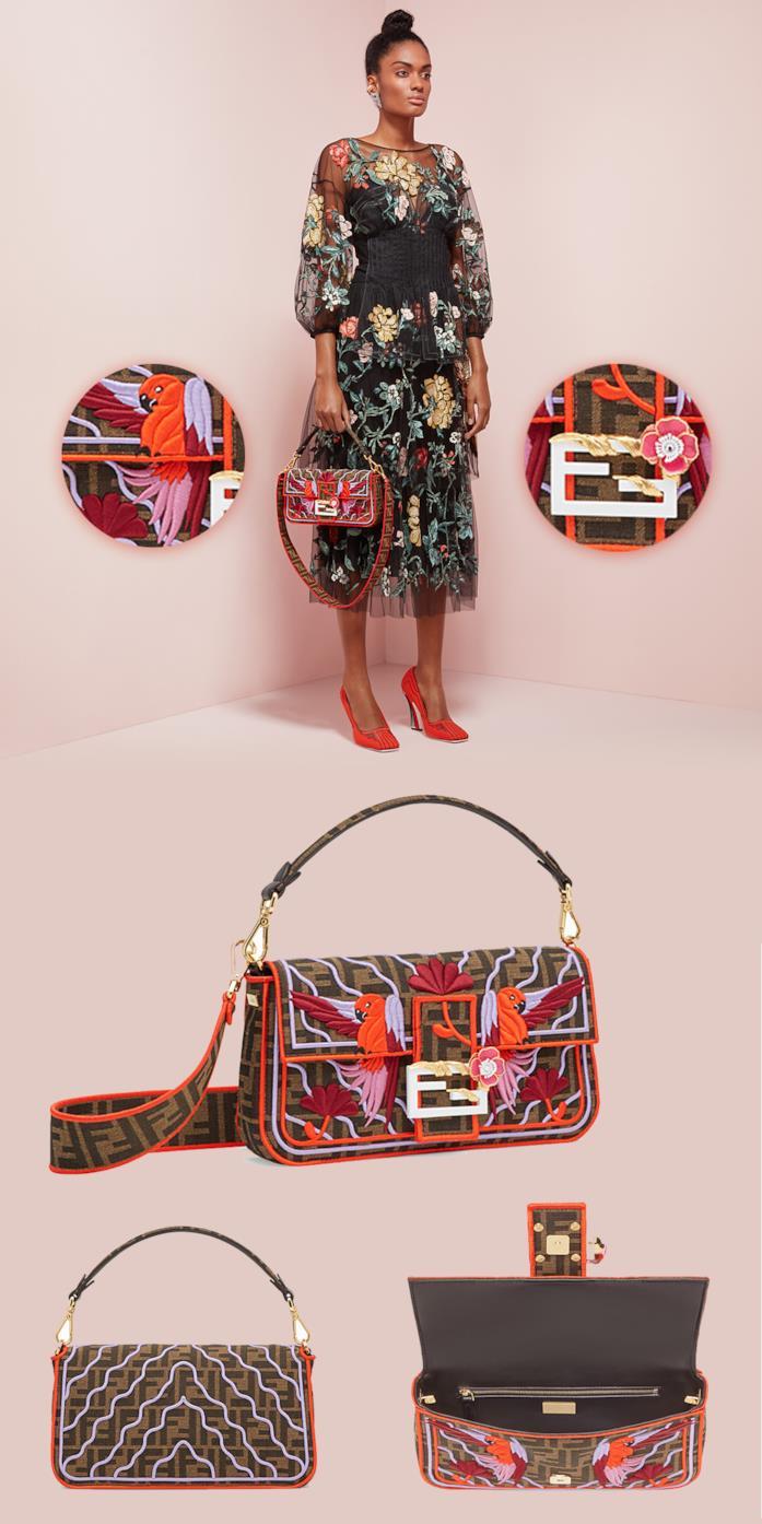 Modella porta Fendi Baguette con fantasia Sfilata Parakeet, dettagli retro e interno borsa