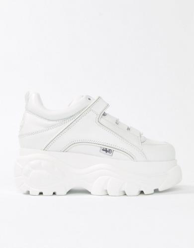 Sneakers classiche platform molto alte bianche