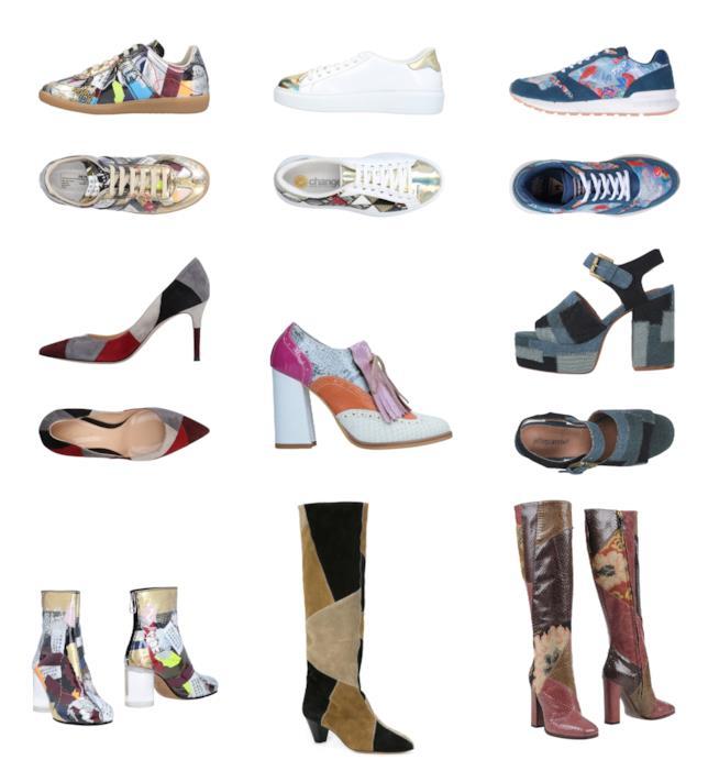 Le scarpe con il motivo patchwork sono tendenza assoluta per l'estate e autunno 2018