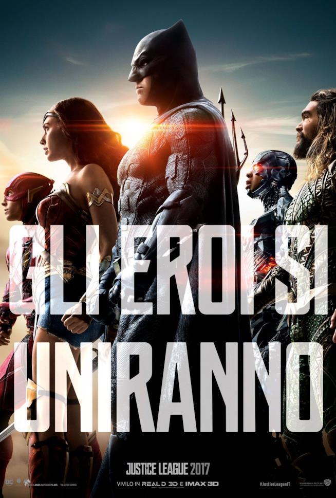 Gli eroi uniti nel poster di Justice League