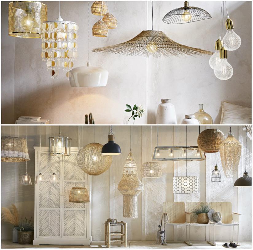Lampadari diversi in stile shabby Maisons su Monde