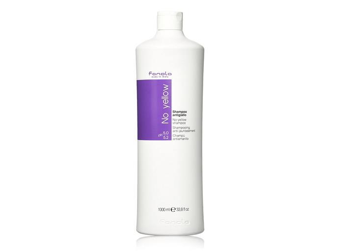 Flacone di shampoo viola antigiallo