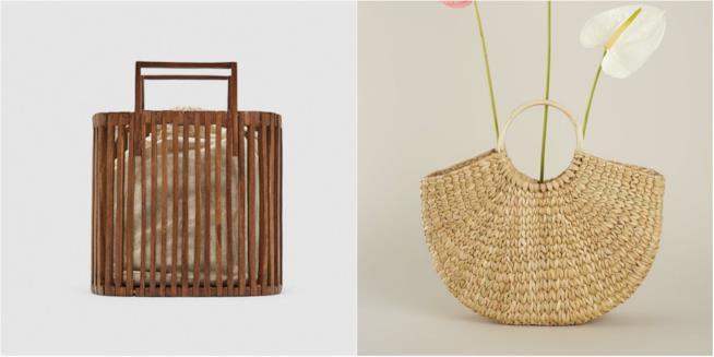 Collage borse di paglia Zara