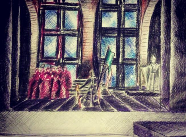 Bozzetto scenografia di Fulvio Massa per opera Jeanne d'Arc