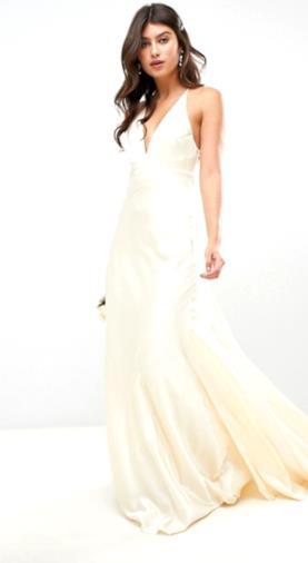Vestito da matrimonio in raso a sirena con pannelli