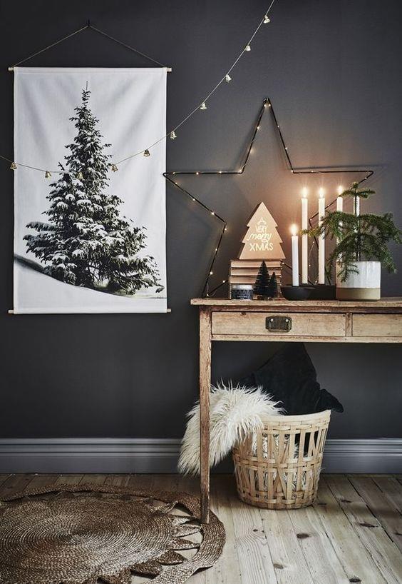 Natale in nero e legno naturale