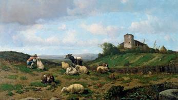 Serafino De Tivoli (1825 –1892), Pascolo, 1860 - Olio su tela, cm 53 x 78