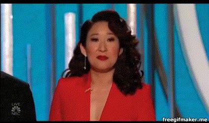 Sandra Oh durante il monologo di apertura dei Golden Globes