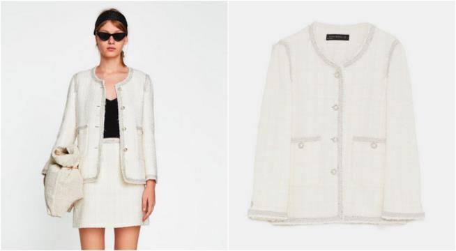 Collage giacca Zara e modella con giacca