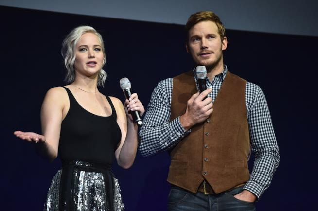 Gli attori Jennifer Lawrence e Chris Pratt