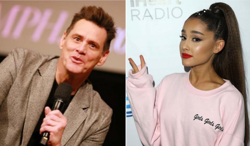 Collage tra Ariana Grande e Jim Carrey