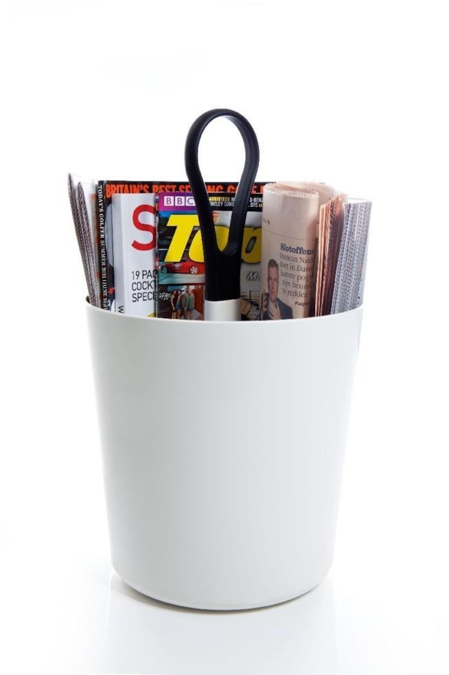 Portariviste in plastica bianco a forma di vaso con manico centrale per il trasporto