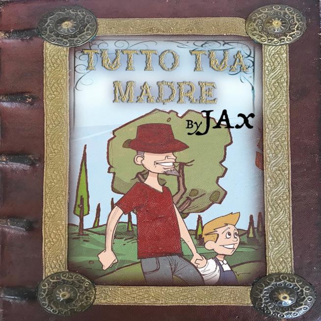 J-Ax e il figlio, a mano, versione cartoon in un parco