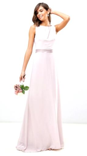 Vestito lungo in rasatello rosa con fiocco sul retro