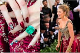 Collage tra Blake Lively e le sue unghie al MET Gala