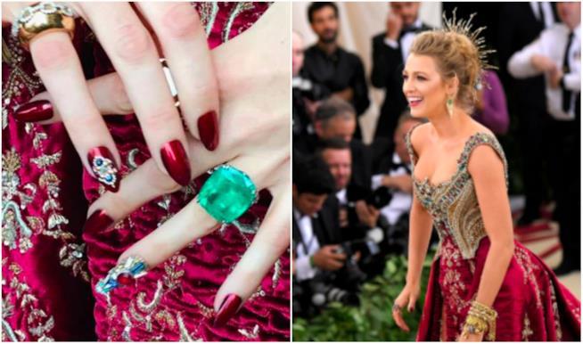 Collage tra Blake Lively e le sue unghie al MET Gala