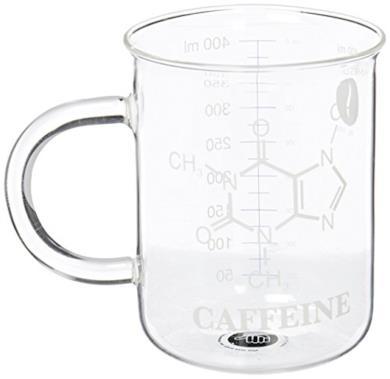 Mug con molecole chimiche in vetro