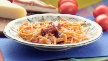 Gricia con spaghetti