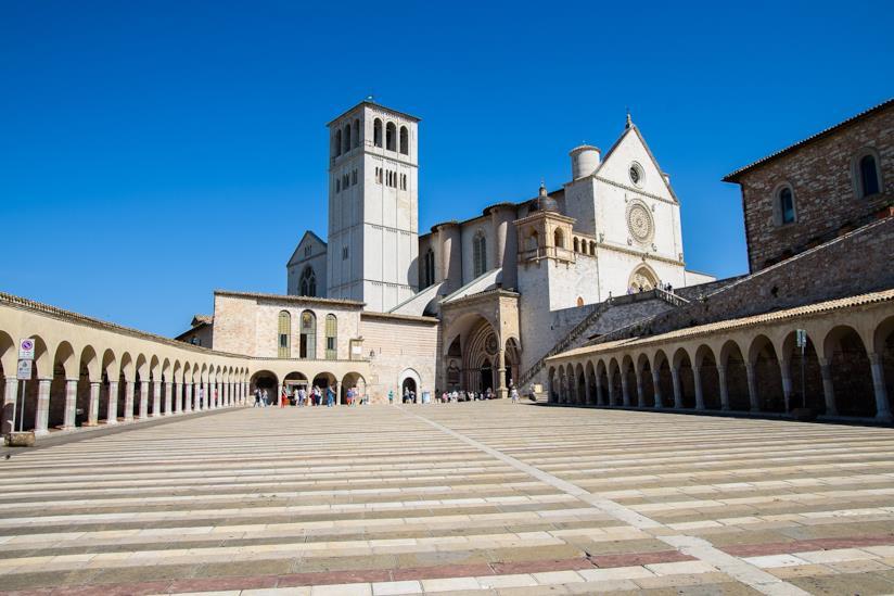 Vista della Basilica di San Francesco d'Assisi, in Umbria