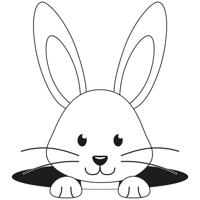 Coniglietto che sorride fuori da una buca
